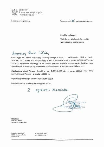 Zwiększenie promesy na realizację zadania: Przebudowa drogi gminnej Nawsie Rzeczki