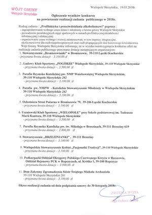 Wyniki konkursu na powierzenie realizacji zadania publicznego w 2018 r.