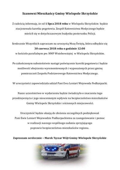 Zaproszenie na otwarcie Zespołu Podstawowego Ratownictwa Medycznego w Wielopolu Skrzyńskim