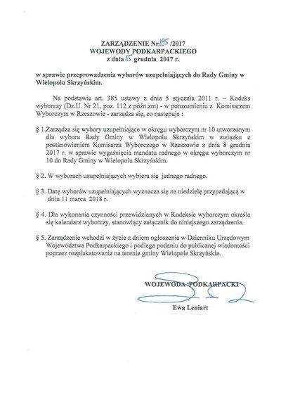 Zarządzenie nr 195/2017 Wojewody Podkarpackiego z dnia 15 grudnia 2017 r.