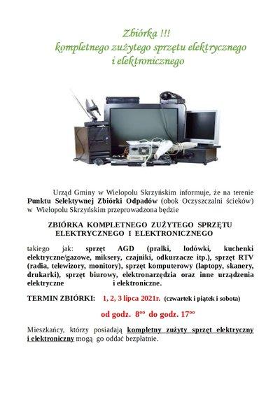 Zbiórka kompletnego zużytego sprzętu elektrycznego i elektronicznego