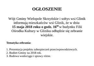 Zebranie dla mieszkańców sołectwa Glinik