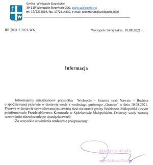 """Informacja o przerwie w dostawie wody z wodociągu gminnego """"Granice"""""""