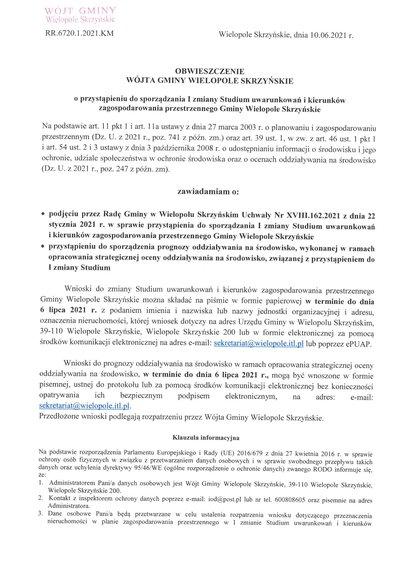 Obwieszczenie Wójta Gminy Wielopole Skrzyńskie o przystąpieniu do sporządzenia I zmiany Studium Uwarunkowań i Kierunków Zagospodarowania Przestrzennego Gminy Wielopole Skrzyńskie
